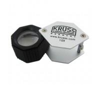 Лупа 10-х 18 мм KRUSS хром-черная резина шестигранная LU 101-18SGR