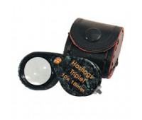 Лупа 10-х 18 мм TRIPLET BLACK с резинкой 29.603
