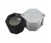 Лупа 10-х 21 мм KRUSS хром-черная резина шестигранная LU 101-21SGR